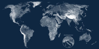 Stippled world relief vector map Royalty Free Stock Photography