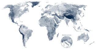 Stippled world relief vector map Stock Photo