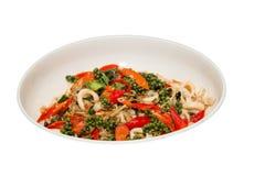 Stir basil sea squid Royalty Free Stock Images