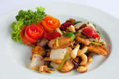 Stir fired chicken with cashew nuts a famous thai Royalty Free Stock Photos