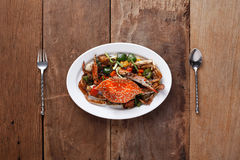 Stir-fired Crab in black pepper,Ready to eat. On The Table,Ready Royalty Free Stock Photos