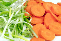 Stir-Fischrogen Prepped grüne Zwiebeln und Karotten, Abschluss Lizenzfreies Stockbild