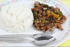 Stir fried beef with black hot pepper and steam rice Royalty Free Stock Images