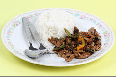 Stir fried beef with black hot pepper and steam rice Royalty Free Stock Photo