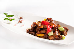 Stir fried beef with black pepper and mushroom Royalty Free Stock Image