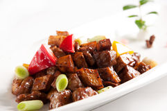 Stir fried beef with black pepper and mushroom Royalty Free Stock Photography