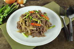 Stir fried beef with onion Stock Photography