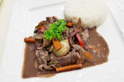 Stir Fried Beef with Steamed Rice on White Square Dish. Stir-Fried Beef with Red Wine and Steamed Rice on Square Dish Stock Photo