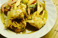 Stir fried blue swimmer crab in yellow curry on plate. Stir fried blue swimmer crab in yellow curry on white plate Stock Images
