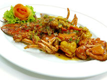 Stir fried boston lobster with onion and ginger Royalty Free Stock Images