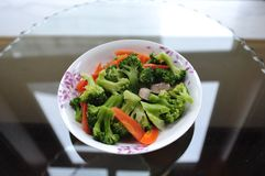 stir-fried broccoli and carrot stock image