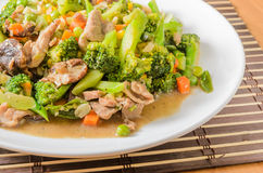 Stir fried Broccoli ,Carrot, Sweet corn, Green Bean Stock Photo