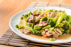 Stir fried Broccoli ,Carrot, Sweet corn, Green Bean Royalty Free Stock Images