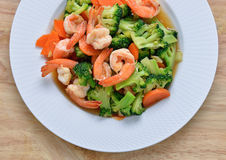 Stir-fried broccoli and shrimp Stock Photography