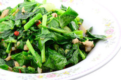 Stir fried of Chianease kale vegetables with pork Royalty Free Stock Photo