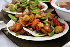 Stir Fried Chicken. With Pineapple served at a restaurant in  China Royalty Free Stock Photo