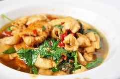 Stir fried chicken with basil Royalty Free Stock Image
