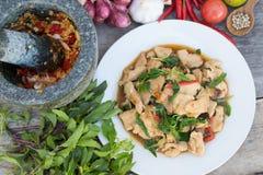 Stir-fried chicken with basil. Thai food stock photos