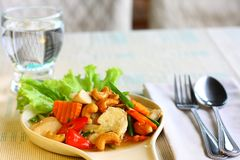 Stir fried chicken with cashew nut. stock photography
