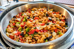 Stir fried chicken with cashew nuts, onion, sweet pepper, chili Stock Photography