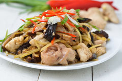 Stir fried chicken, ginger and mixed vegetables Royalty Free Stock Photo