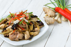 Stir fried chicken, ginger and  vegetables Royalty Free Stock Photos