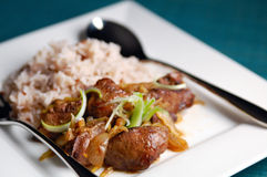 Stir fried chicken liver with ginger Stock Photo