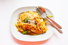 Stir fried chicken noodle Stock Photo