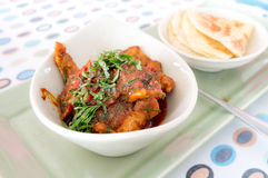 Stir Fried Chicken with Red Curry and Roti stock image
