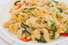 Stir fried chicken with salty egg Royalty Free Stock Photography