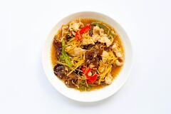 Stir Fried Chicken With Ginger On White Stock Photos