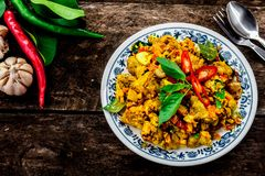 Stir Fried Chicken with Yellow Curry Paste. royalty free stock image