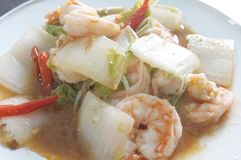 Stir fried chinese cabbage with shrimp Stock Photos