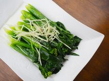 Stir fried Chinese Hong Kong kale with sliced ginger. Stir fried Chinese Hong Kong kale with sliced ginger in oyster sauce served on white plate, brown wooden Royalty Free Stock Image