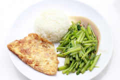 Stir-Fried Chinese Morning Glory, Water Spinach, Tumis Kangkung, stir fried morning glory .phad puk boong fri dang. thai food.  stock photo