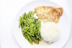 Stir-Fried Chinese Morning Glory, Water Spinach, Tumis Kangkung, stir fried morning glory .phad puk boong fri dang. thai food.  royalty free stock images