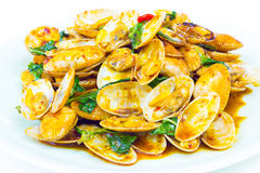 Stir fried clams with roasted chili Royalty Free Stock Photos