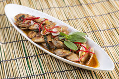Stir fried clams with roasted chili paste Royalty Free Stock Photo