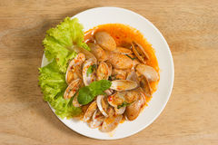 Stir fried clams with roasted chili paste,Thailand food Royalty Free Stock Photos