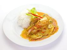 Stir - fried crab with curry powder Stock Photo
