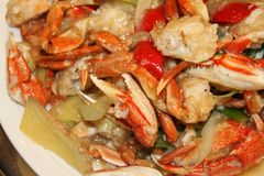 Stir-fried crab legs featur. Chinese dishes Stir-fried crab legs Royalty Free Stock Photo