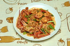 Stir-fried crab and shrimp in curry powder is top-ten of popular Thai food. Royalty Free Stock Image