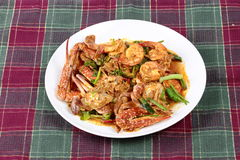Stir-fried crab and shrimp in curry power is top-ten of popular Thai food as seafood to fried with  fresh milk ,grill curry ,egg , Stock Images