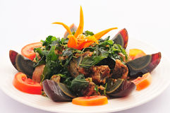 Stir Fried Crispy Basil with Black Preserved Egg, Royalty Free Stock Photos