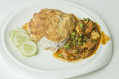 Stir-fried curry seafood and egg on rice.  stock photography