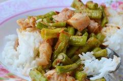 Stir-fried curry yard long bean with fat pork Thai easy meal. On dish Stock Photos