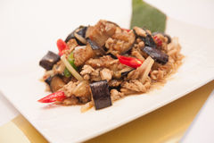 Stir fried egg plant, Thai food. Stock Photos
