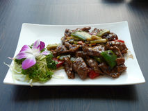 Stir fried fillet duck in black pepper sauce Royalty Free Stock Photography