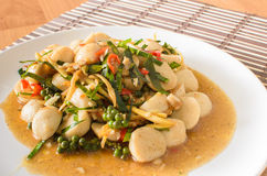 Stir fried fish ball with spicy thai herbs Royalty Free Stock Images
