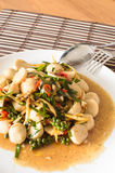 Stir fried fish ball with spicy thai herbs Royalty Free Stock Photo